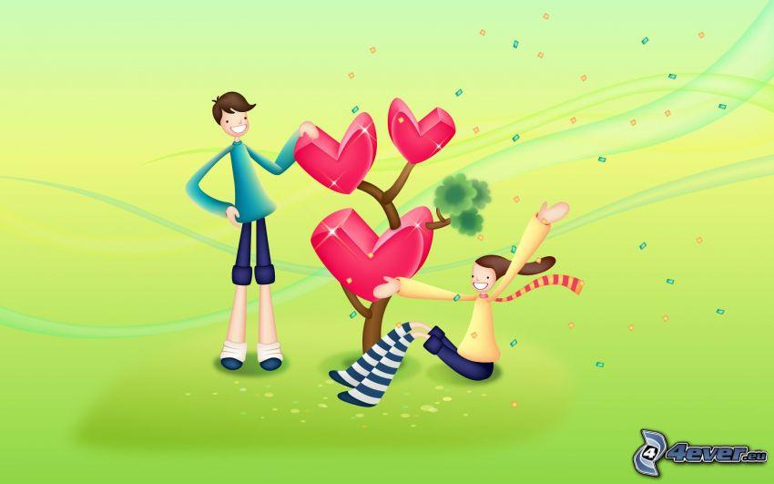 Paar bei dem Baum, Herzen, Cartoon
