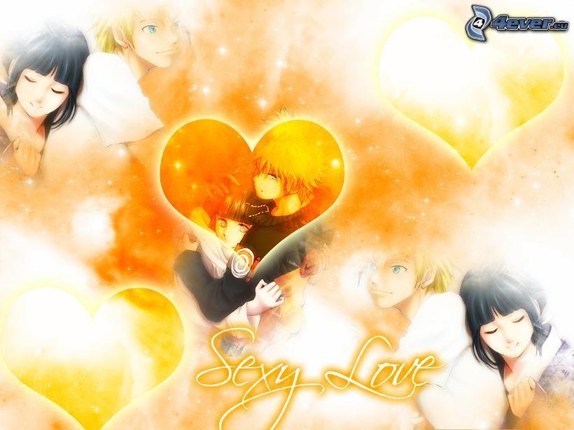 sexy love, gezeichnetes Paar, anime Paar, Herz