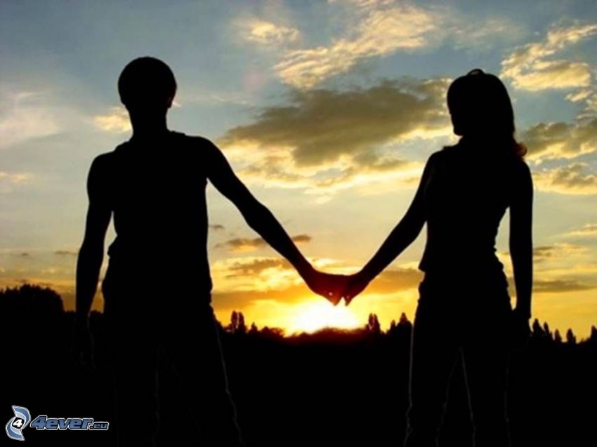 Silhouette des Paares
