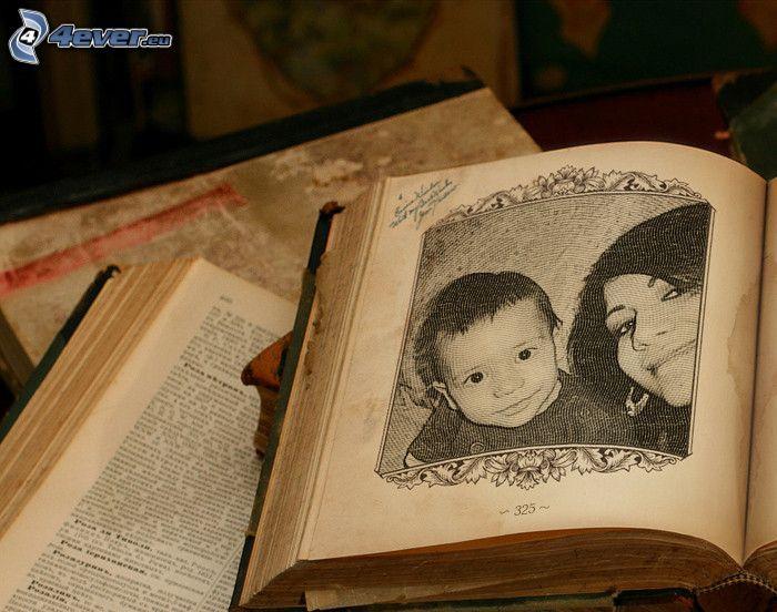 Buch, Kind, Foto, Zeichnung
