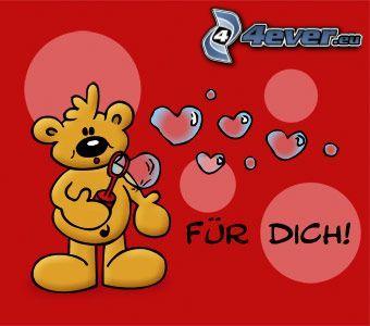 für dich, Teddybär, Herzen, Seifenblasenset