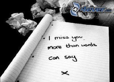 I miss you, Ich vermisse dich, Liebe