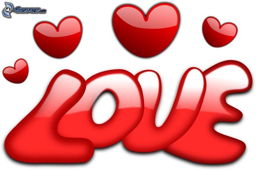 love, roten Herzen, digitale Kunst