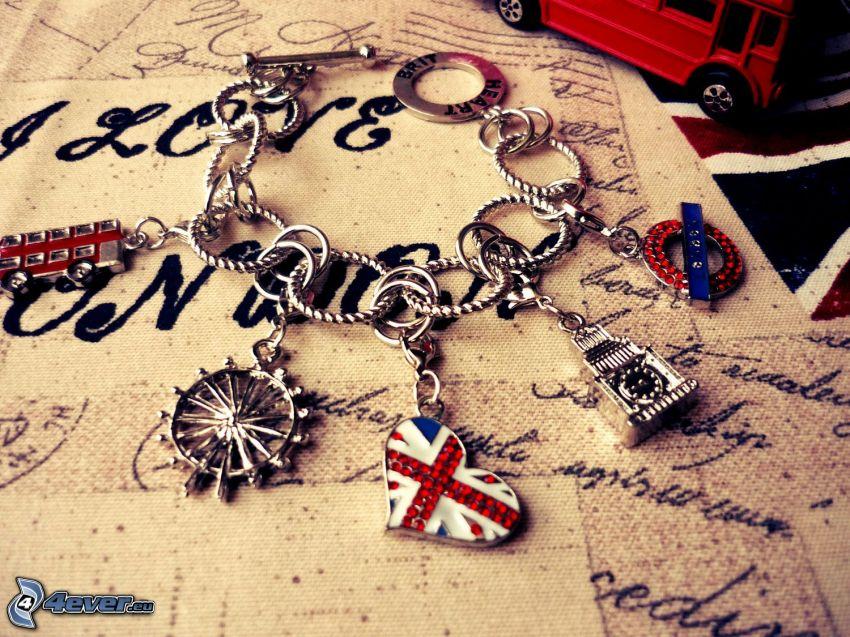 Armbänder, London, Beiwerk