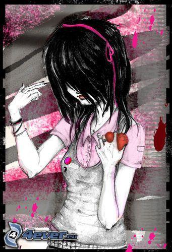 Cartoon-Mädchen, emo Mädchen, schwarze Haare, Stirnlocke, Herz