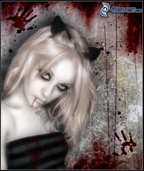 emo, Blondine, Öhrchen, Blut