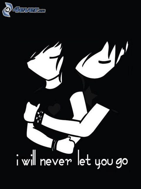 I will never let you go, emo Paar, emo Umarmung, Liebe