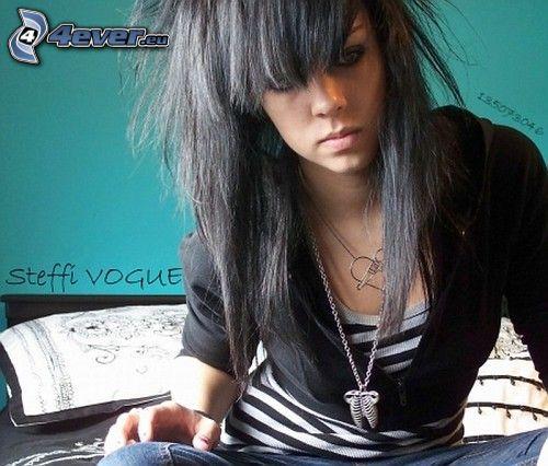 scene girl, Stil, emo Mädchen, schwarze Haare