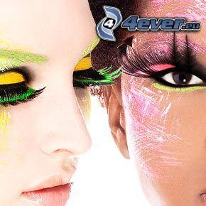 gemalte Frau, Wimpern, Auge, Gesicht einer Frau