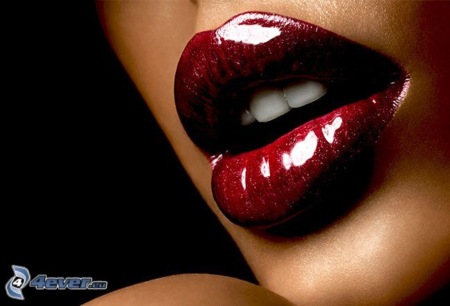 geschminkter Mund, Mund, Glanz, rot, Zähne