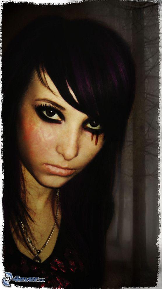 Gotik, emo, blutige Tränen, Depression