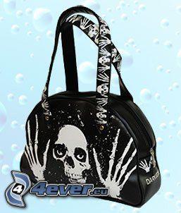 Handtasche mit Totenköpfen, Sensenmann