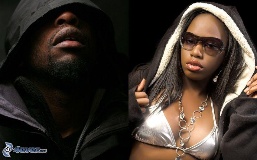 rappers, Schwarzer, schwarze Frau
