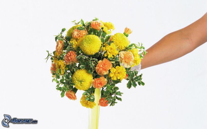 Hochzeitsstrauß, gelbe Blumen