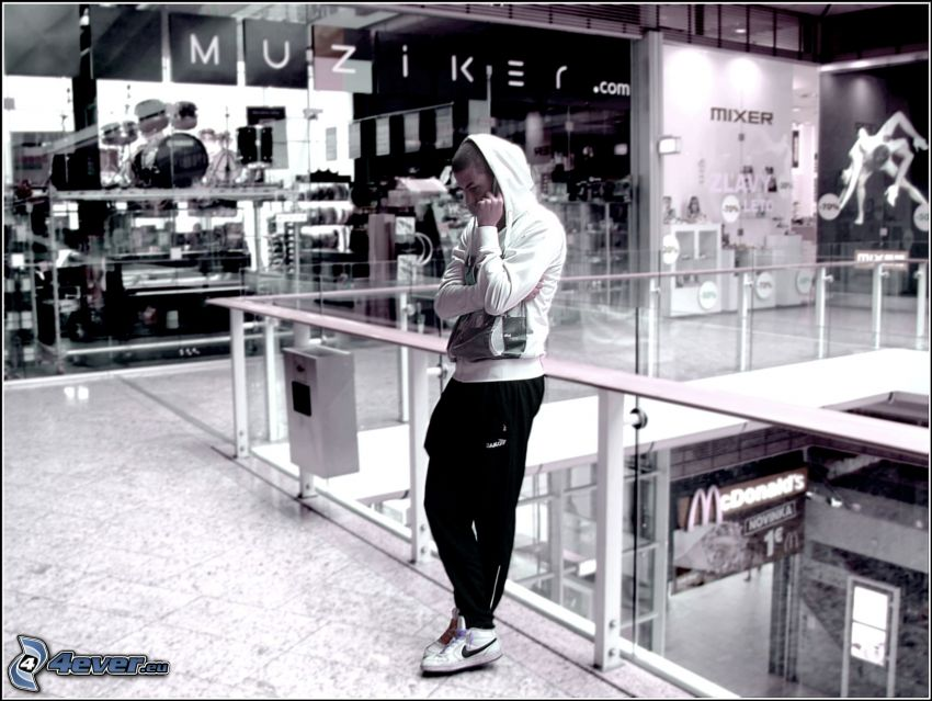 Junge, Einkaufszentrum, Muziker