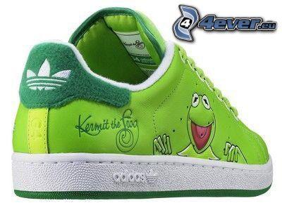 Adidas, Turnschuh, Kermit the Frog, Frosch, grün