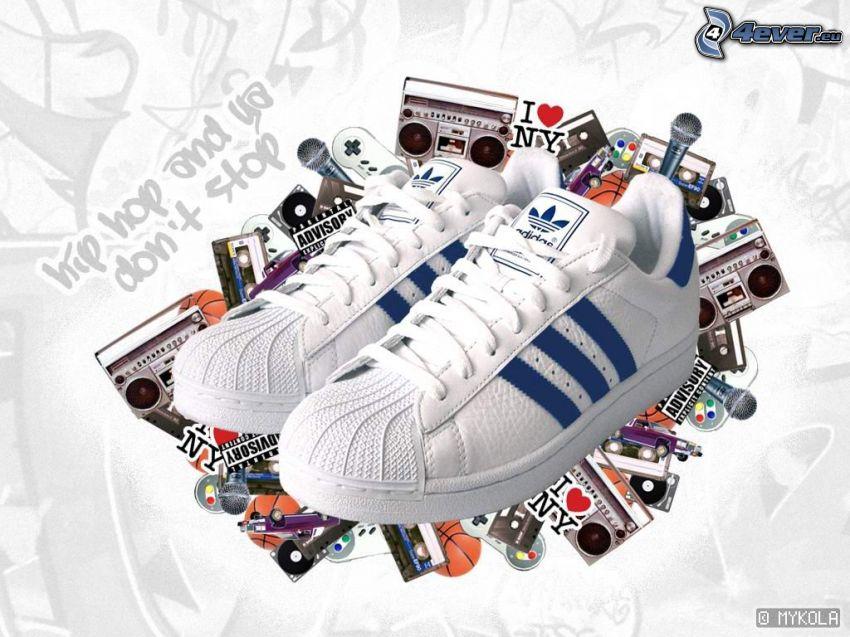 Adidas, weiße Turnschuhe, hip hop