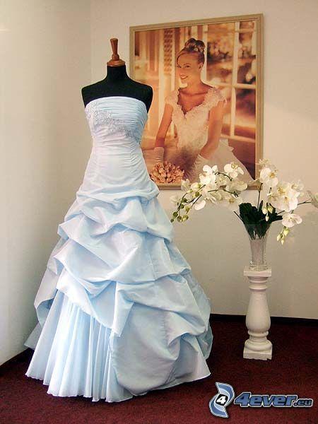 Brautkleid, weiß, Bild, Orchidee