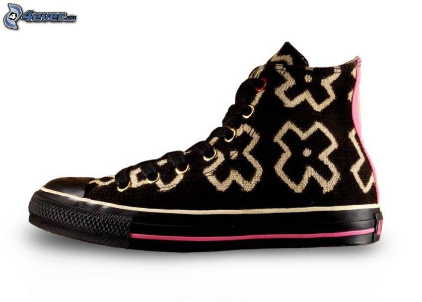 Converse, schwarzer Tennisschuh