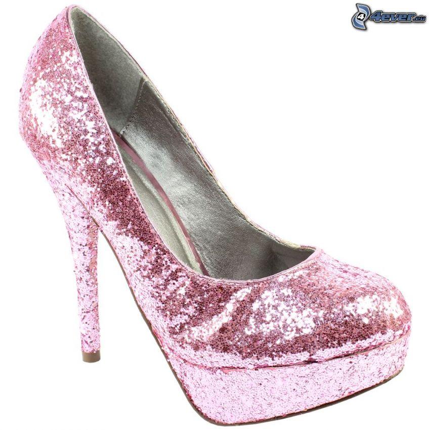 die rosa Damenschuhe, Glitzer Damenschuhe