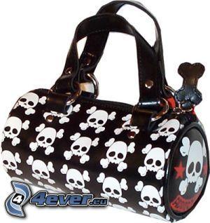 Handtasche mit Totenköpfen, Sensenmann, emo