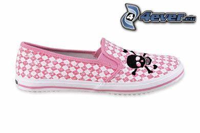 rosa Schuh, Turnschuhe mit Schädel