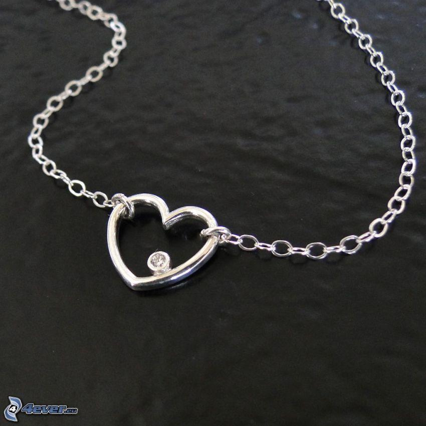 silber Anhänger, Herz, Halskette