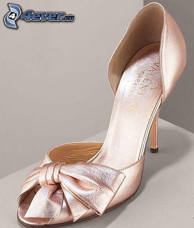 Valentino, die rosa Damenschuhe, Haarschleife, Ferse, Gesellschaftsschuhe