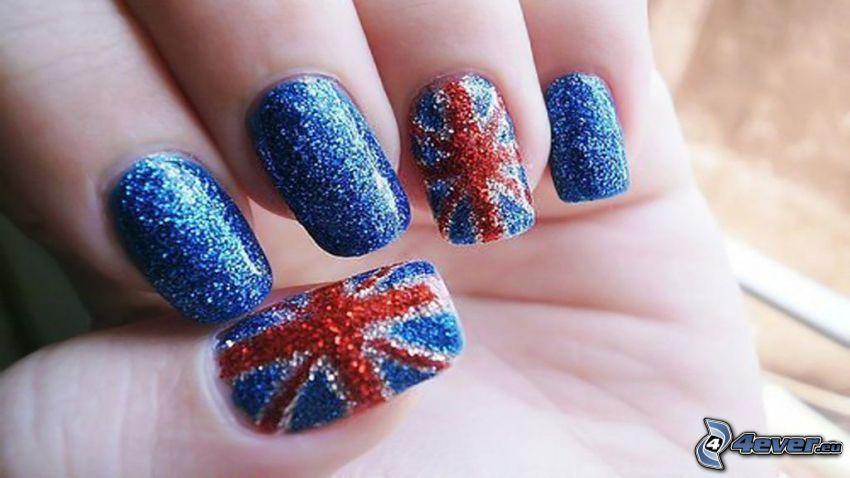 lackierte Nägel, Englisch Flagge