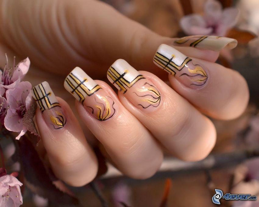 lackierte Nägel, Finger