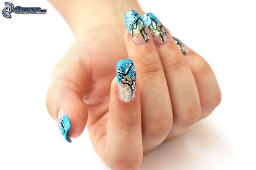 lackierte Nägel, Hand