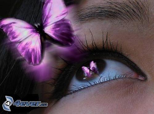 lila Auge, Schmetterling
