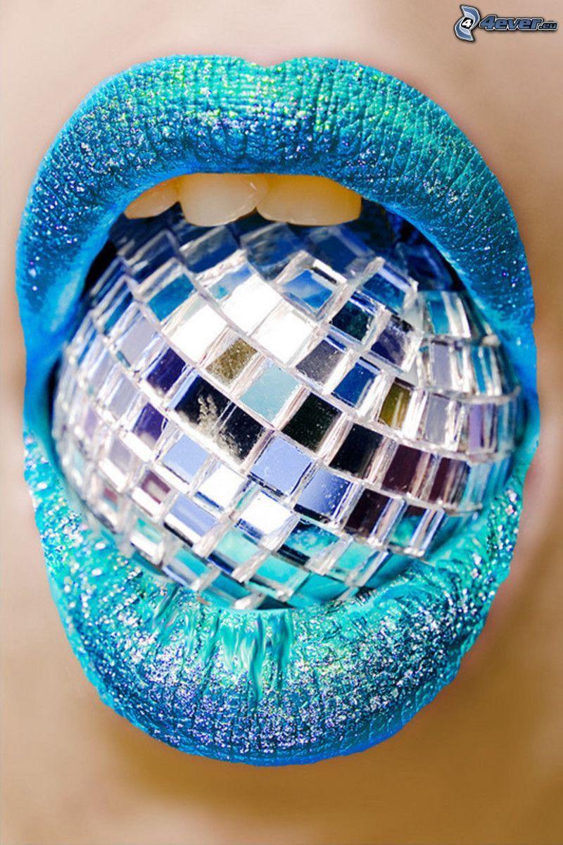 Mund, disco-Kugel, türkise Farbe