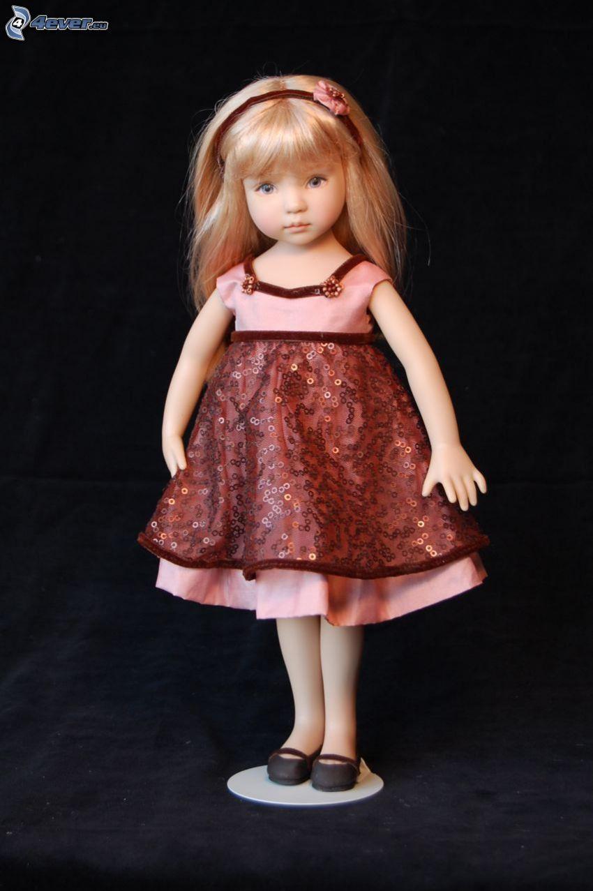 Porzellanpuppe, rotes Kleid