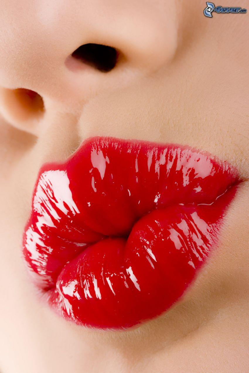 rote Lippen, Mund, Nase