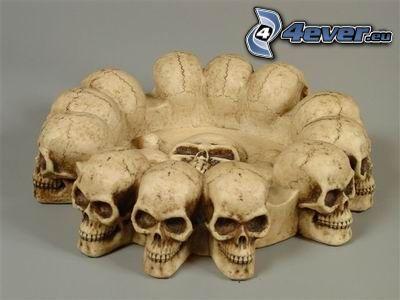 Schädel, Sensenmann, Skelett, Aschenbecher