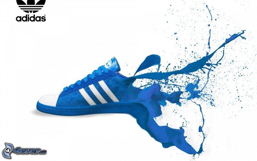 Adidas, logo, Turnschuh, blaue Farbe, Tintenfleck
