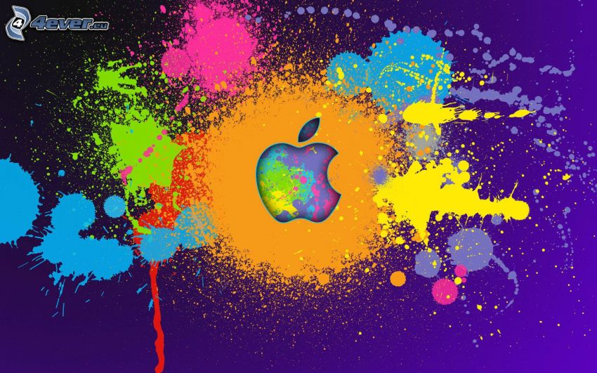 Apple, farbige Kleckse