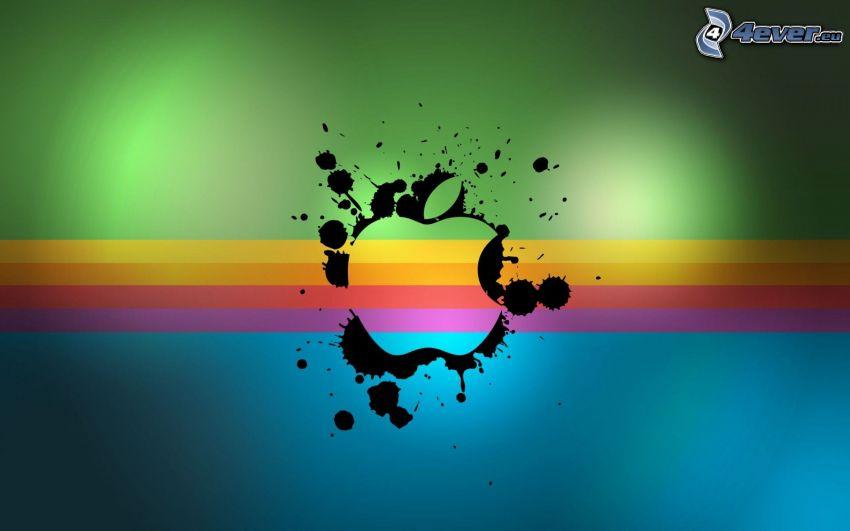 Apple, logo, Kleckse, Farbstreifen
