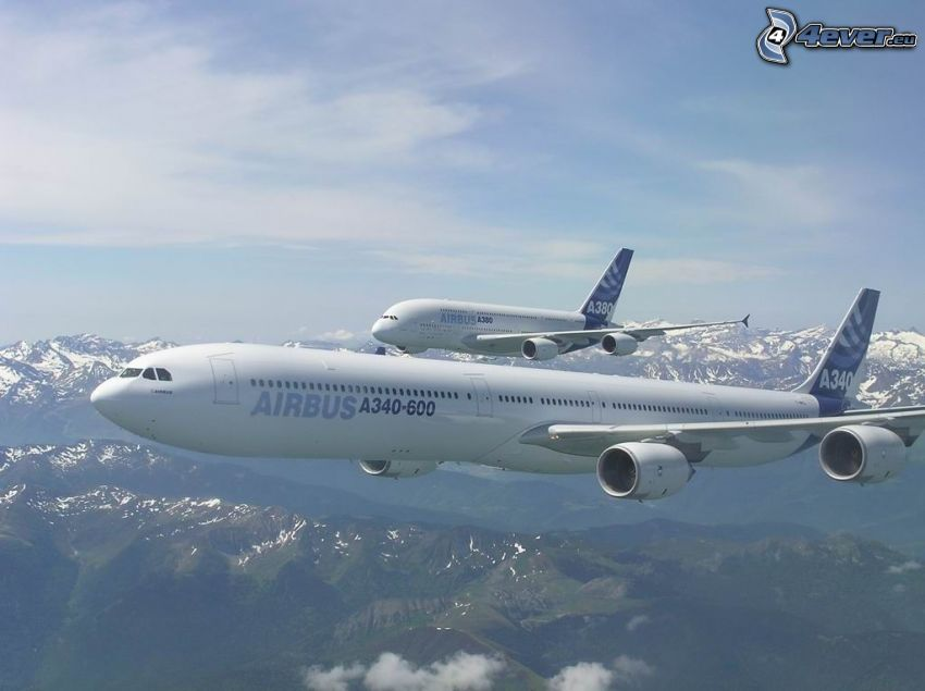Airbus A340, Airbus A380, Flugzeuge, Landschaft