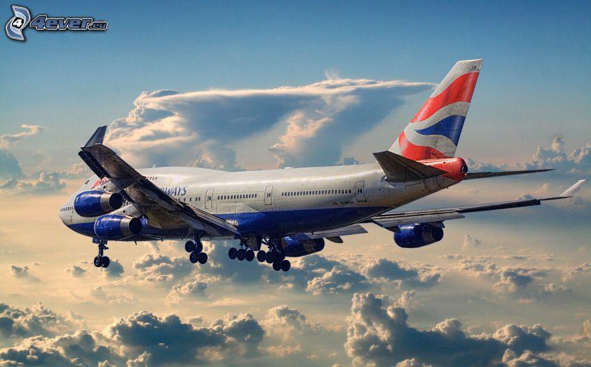 Boeing 747, über den Wolken