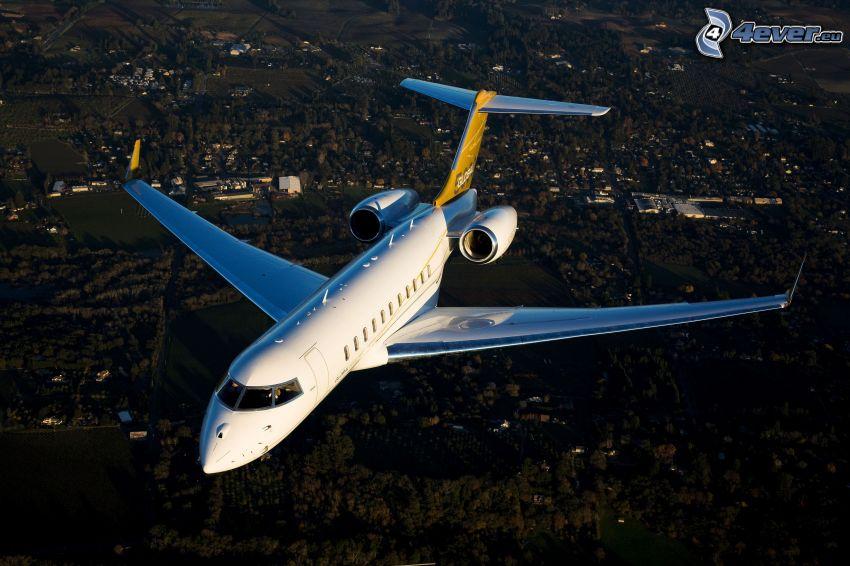 Flugzeug, Aussicht auf die Landschaft