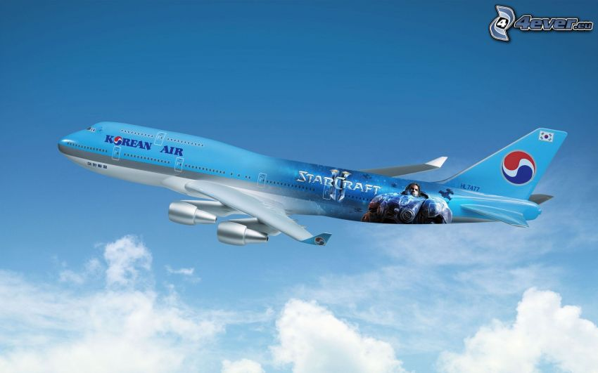 Flugzeug, über den Wolken