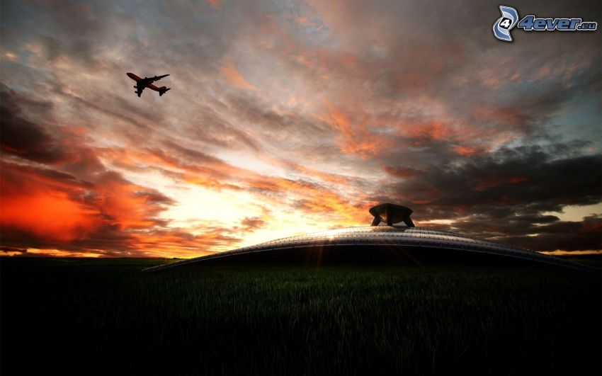Silhouette des Flugzeuges, nach Sonnenuntergang