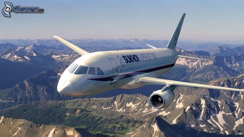 Sukhoi Superjet 100, felsige Berge