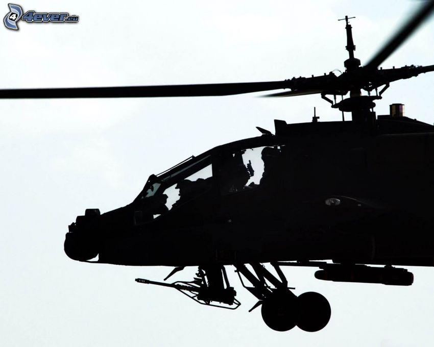 AH-64 Apache, Silhouette des Hubschraubers, militärischer Hubschrauber