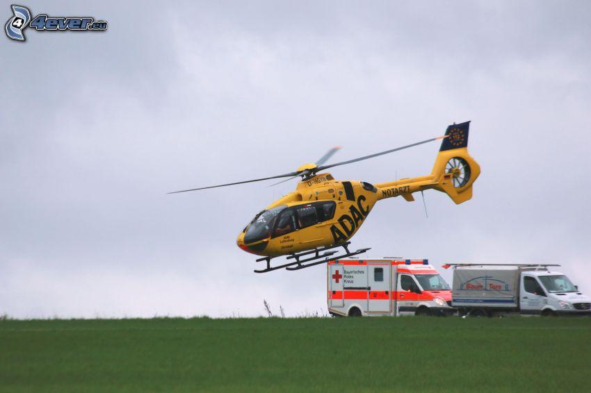 Hubschrauber, Rettungswagen