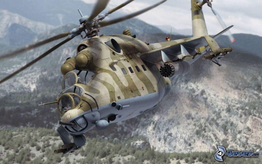 Mil Mi-24, militärischer Hubschrauber, Hügel