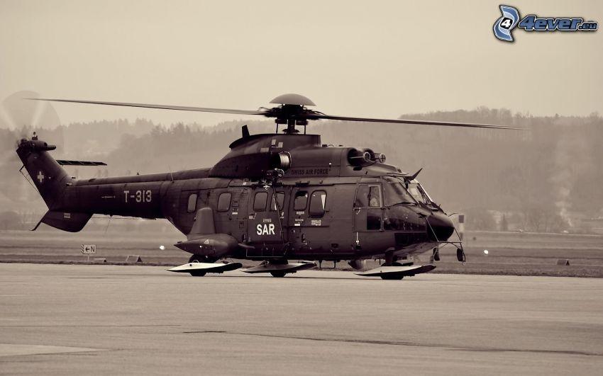 militärischer Hubschrauber, Schwarzweiß Foto