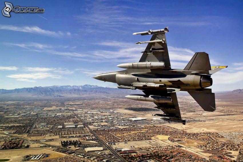 Jagdflugzeug, Aussicht auf die Landschaft